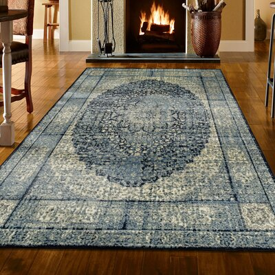 Petillo Blue/Beige Area Rug Rug Size: Rectangle 8' x 10'