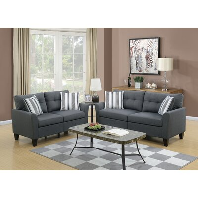 Drees 2 Piece Living Room Set Upholstery: Charcoal
