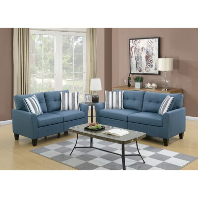 Drees 2 Piece Living Room Set Upholstery: Blue