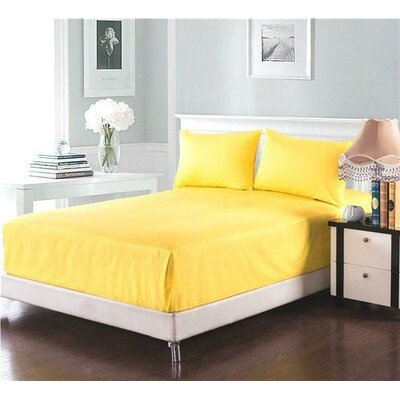 Madore Royal 800 Thread 100% Cotton Count Sheet Set Size: Full, Color: Banana Yellow