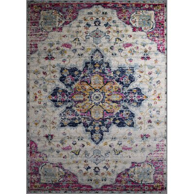 Pena Cream/Purple Area Rug Rug Size: Rectangle 3'7