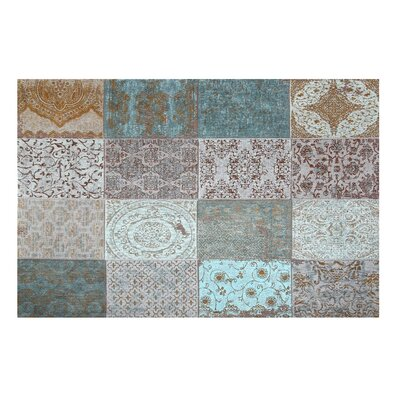 Armistead Cotton Teal/Gray Area Rug