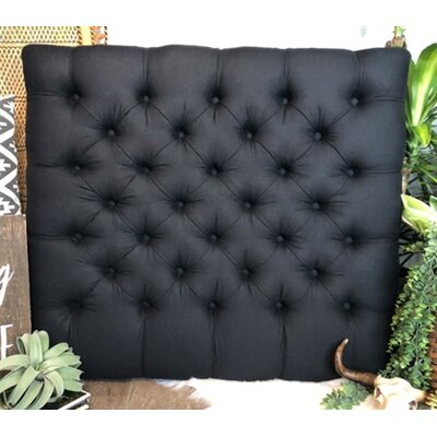 Plank Hill Linen Diamond Tufted Twin/Twin XL Upholstered Panel Headboard Upholstery: Black