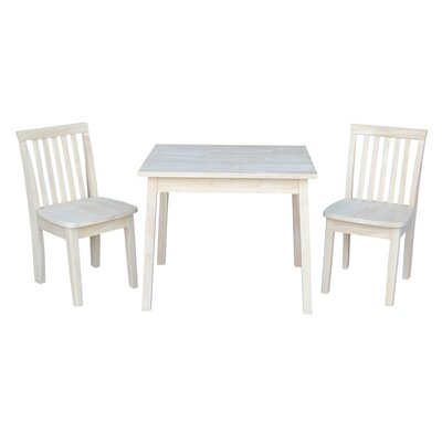 Priestley 3 Piece Unfinished Kid's Rectangular Table and Chair Set C7B4F5824A404A759EBCB38EAE09C739