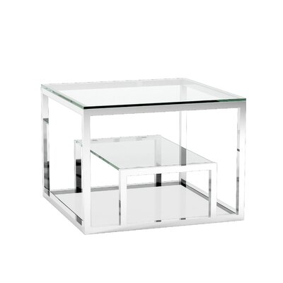 Cayla End Table with Storage Color: Silver