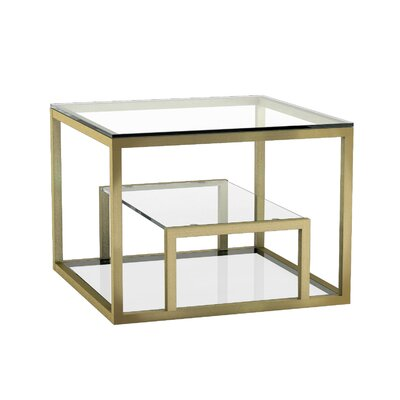Cayla End Table with Storage Color: Gold