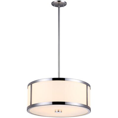 St Philips Marsh 3-Light Drum Pendant Finish: Chrome, Size: 7.5 H x 16 W x 16 D