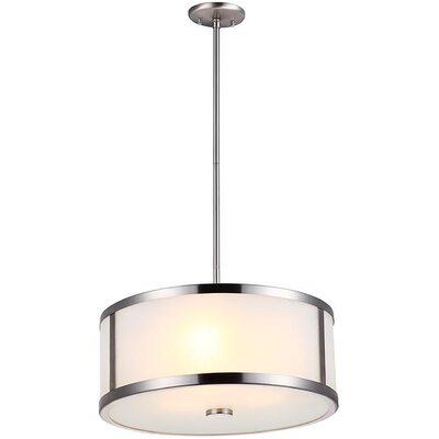 St Philips Marsh 3-Light Drum Pendant Finish: Satin Nickel, Size: 7.5 H x 16 W x 16 D