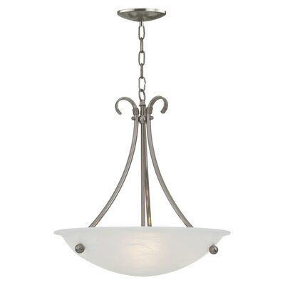 Carlucci 3-Light Bowl Pendant Color: Satin Nickel, Size: 21 H x 20 W x 20 D