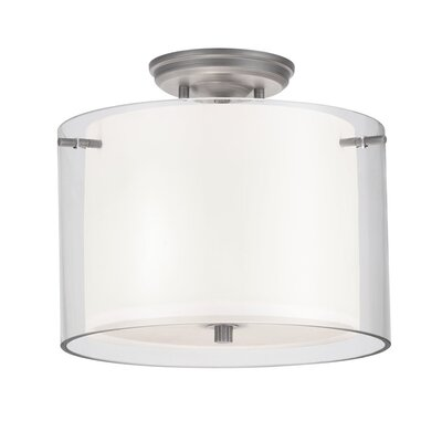 Matthies 2-Light Semi Flush Mount Fixture Finish: Buffed Nickel