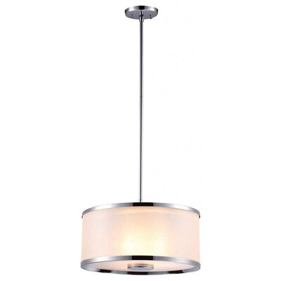 Stadler 3-Light Drum Pendant Finish: Chrome, Size: 7 H x 18.5 W x 18.5 D