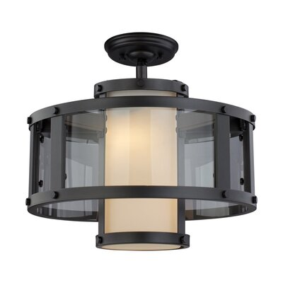Mattox 2-Light Semi Flush Mount Fixture Finish: Graphite
