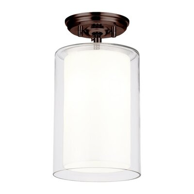 Matthies 1-Light Semi Flush Mount Fixture Finish: Oil Rubbed Bronze