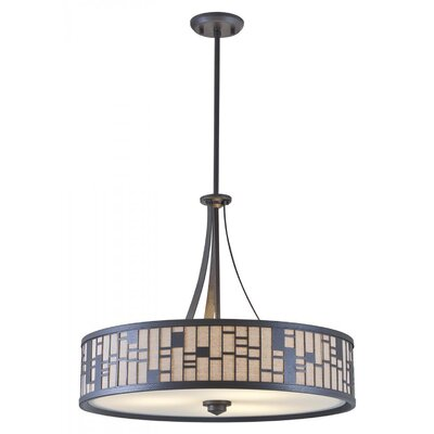 Stickles 3-Light Drum Pendant Finish: Forged Iron, Shade Color: Oatmeal, Size: 18.5 H x 22.5 W x 22.5 D