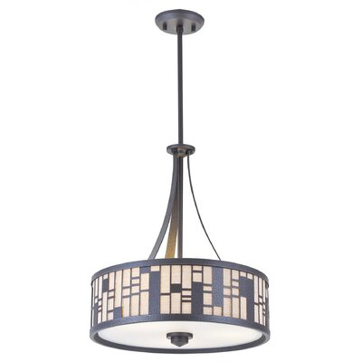 Stickles 3-Light Drum Pendant Finish: Forged Iron, Shade Color: Oatmeal, Size: 18.5 H x 16 W x 16 D