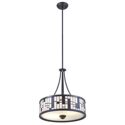 Stickles 3-Light Drum Pendant Finish: Graphite, Shade Color: White, Size: 18.5 H x 16 W x 16 D