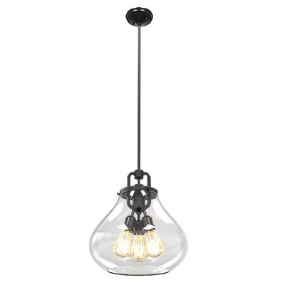 Engel 3-Light Foyer Pendant Color: Graphite, Shade Color: Clear
