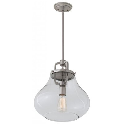 Engel 1-Light Mini Pendant Color: Satin Nickel, Shade Color: Clear, Size: 15.25 H x 12 W x 12 D