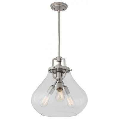 Engel 3-Light Foyer Pendant Color: Satin Nickel, Shade Color: Clear