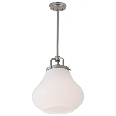 Engel 1-Light Mini Pendant Color: Satin Nickel, Shade Color: True Opal, Size: 10.25 H x 8 W x 8 D