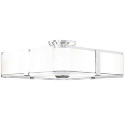 Stallman 3-Light Semi Flush Mount Fixture Finish: Chrome, Size: 6.5 H x 12 W x 12 D