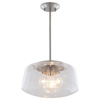 Engelman 3-Light Inverted Pendant Color: Satin Nickel, Shade Color: Clear