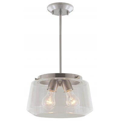 Engelman 2-Light Inverted Pendant Color: Satin Nickel, Shade Color: Clear