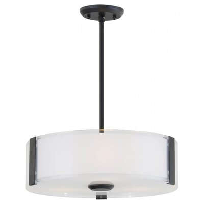 Mauch 3-Light Drum Pendant Finish: Satin Nickel, Size: 5 H x 20 W x 20 D