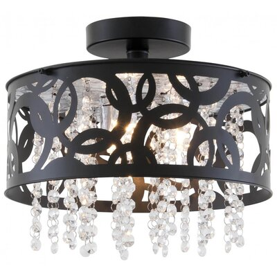 Millner 3-Light Semi Flush Mount Size: 7.75 H x 12 W x 12 D, Fixture Finish: Ebony