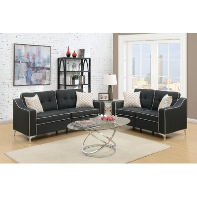 Hodgkins 2 Piece Living Room Set Upholstery: Black