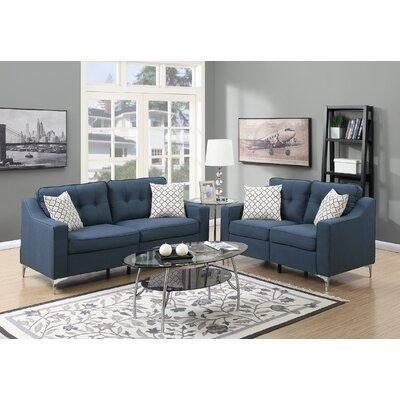 Hodgkins 2 Piece Living Room Set Upholstery: Navy