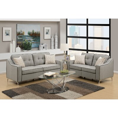 Hodgkins 2 Piece Living Room Set Upholstery: Light Gray