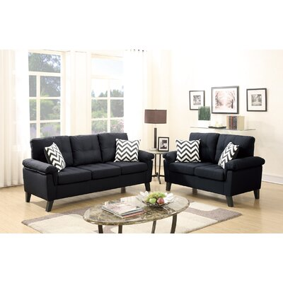 Dreher 2 Piece Living Room Set Upholstery: Black