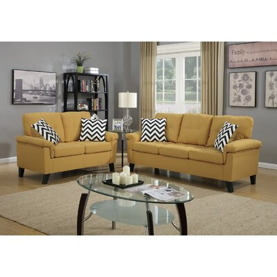 Dreher 2 Piece Living Room Set Upholstery: Yellow