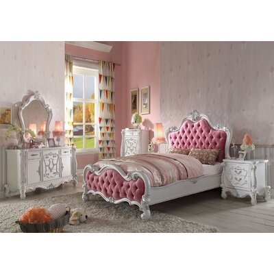 Mackenzie Traditional Antique French Style Fabric Upholstered Panel Bed Size: Full