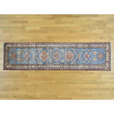 One-of-a-Kind Dorcey Super Kazak Tribal Hand-Knotted Wool Blue Area Rug