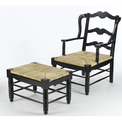 Getz Ladderback Wingback Chair And Ottoman Finish: Black