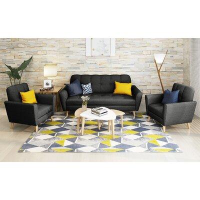Clardy Mid Century 3 Piece Living Room Set Upholstery: Black