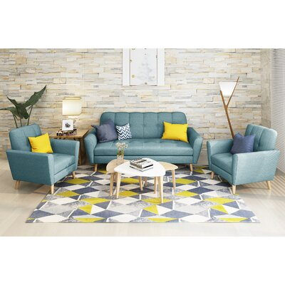 Clardy Mid Century 3 Piece Living Room Set Upholstery: Blue