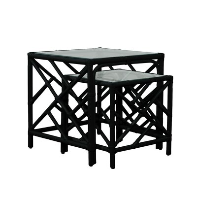 Chippendale 2 Piece Nesting Table Color: Black