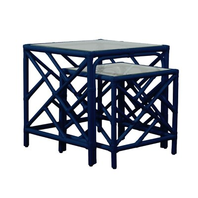 Chippendale 2 Piece Nesting Table Color: Navy