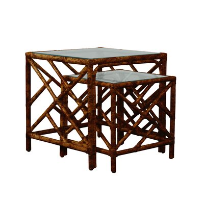 Chippendale 2 Piece Nesting Table Color: Tortoise Shell