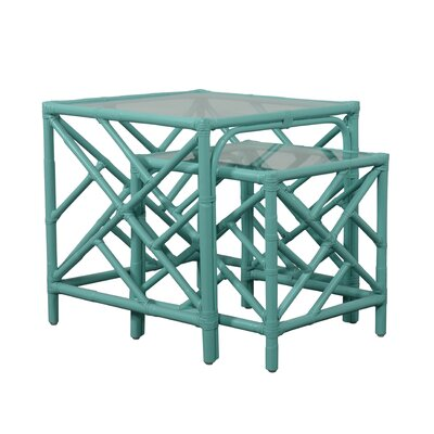 Chippendale 2 Piece Nesting Table Color: Turquoise