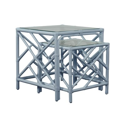 Chippendale 2 Piece Nesting Table Color: Light Blue