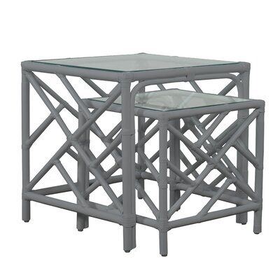Chippendale 2 Piece Nesting Table Color: Light Gray