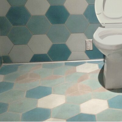 Solid Mixed Hex 8 x 8 Cement Field Tile in Blue