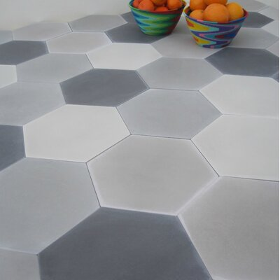 Solid Mixed Hex 8 x 8 Cement Field Tile in Gray
