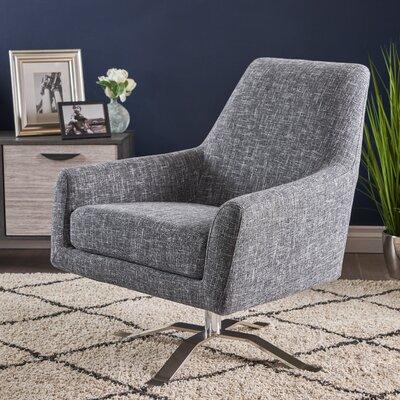 Shevlin Modern Fabric Swivel Armchair Upholstery: Twill Gray