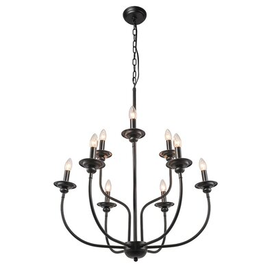 Shirely 2-Tier Traditional 9-Light Candle-Style Chandelier