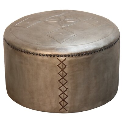 Pascual Puff Leather Pouf Ottoman